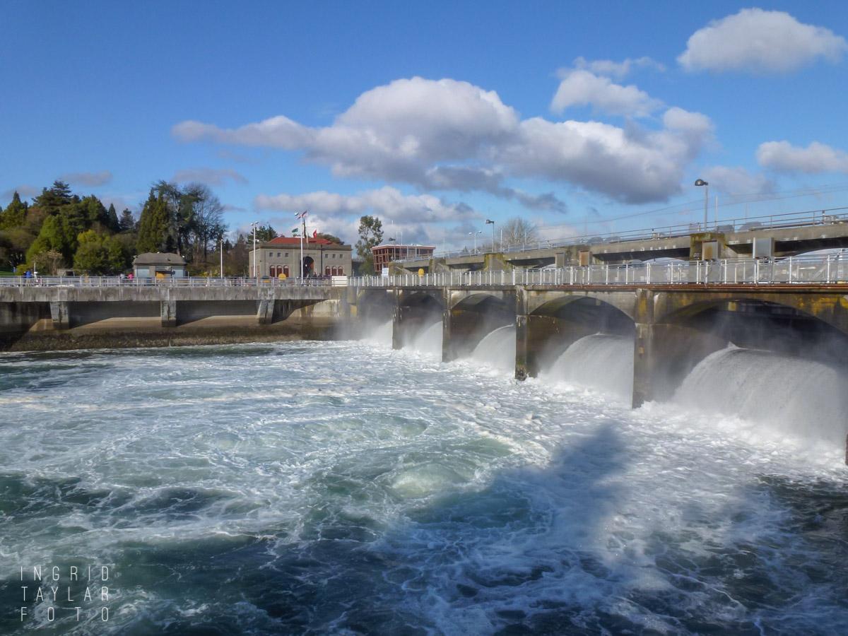 Ballard Locks Spillway with Clouds