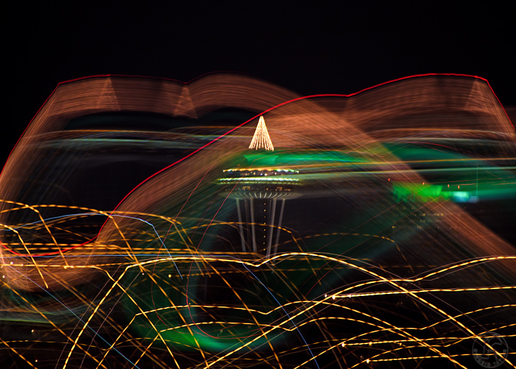 Seattle Space Needle Holiday Lights