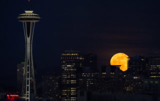 Seattle Moonrise over Space Needle
