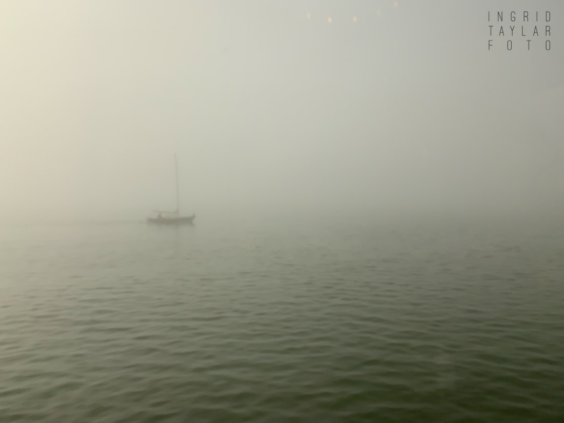 Berkeley Marina Fog and Boat