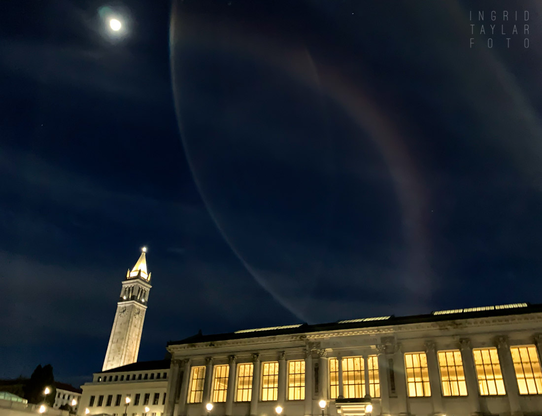 UC Berkeley at Night with Moon