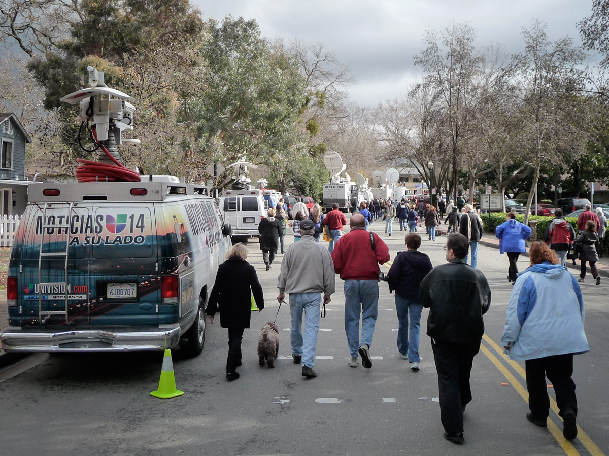 Welcome Home Sully Sullenberger Media Trucks