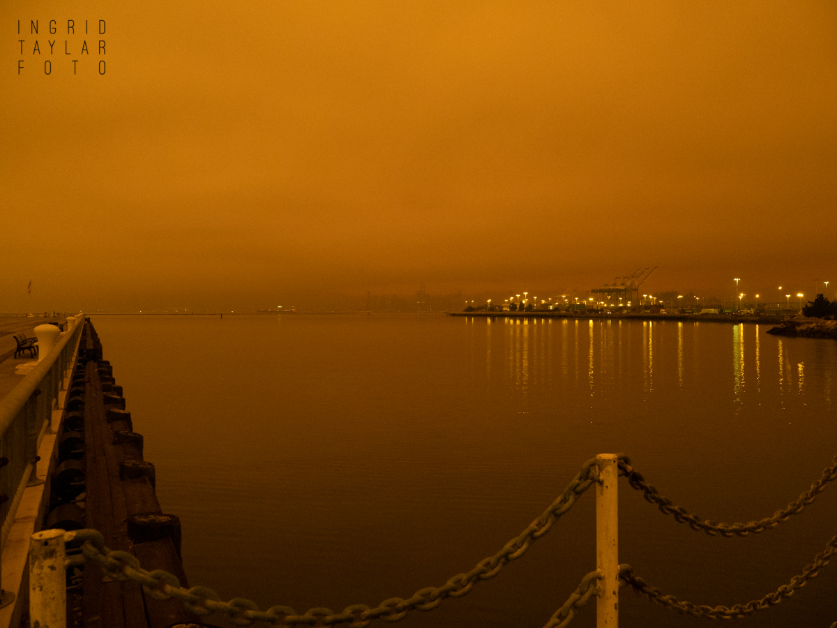 Middle Harbor Oakland in Wildfire Smoke