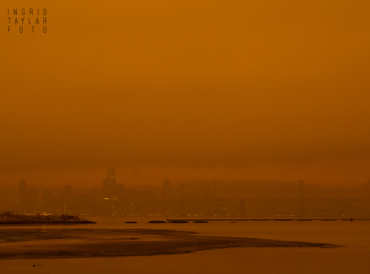 San Francisco Skyline in Orange Wildfire Smoke